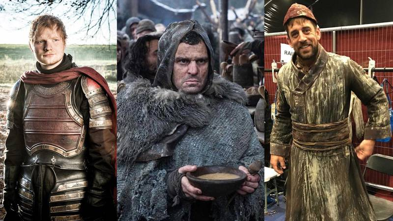 Ed Sheeran, David S Cohen, and Aaron Rodgers in Game of Thrones. Courtesy HBO