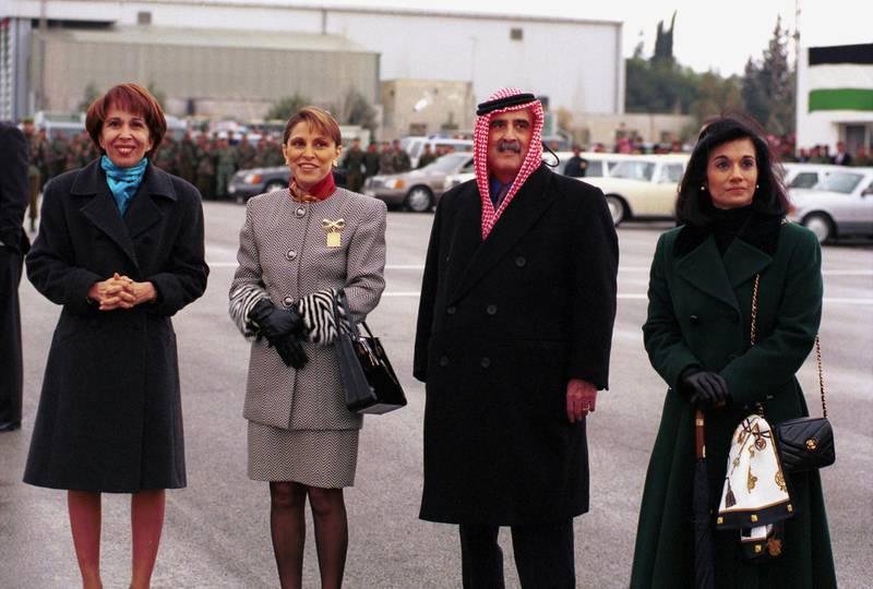 (Original Caption) Princess Basma, Princess Taghrid, Prince Mohammed and Princess Sarvath. (Photo by Maher Attar/Sygma via Getty Images)