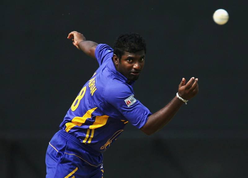 PORT OF SPAIN, TRINIDAD AND TOBAGO - MARCH 15:  Muttiah Muralitharan of Sri Lanka in action during the ICC Cricket World Cup 2007 Group B match between Sri Lanka and Bermuda at the Queens Park Oval Cricket Ground on March 15, 2007 in Port of Spain, Trinidad.  (Photo by Clive Rose/Getty Images)