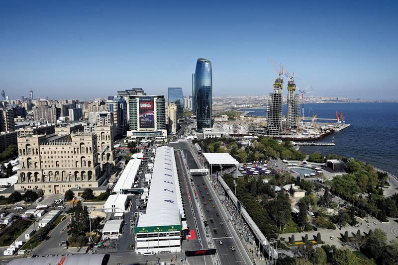BAKU, AZERBAIJAN - APRIL 28: A general view of the start during the F1 Grand Prix of Azerbaijan at Baku City Circuit on April 28, 2019 in Baku, Azerbaijan. (Photo by Will Taylor-Medhurst/Getty Images)