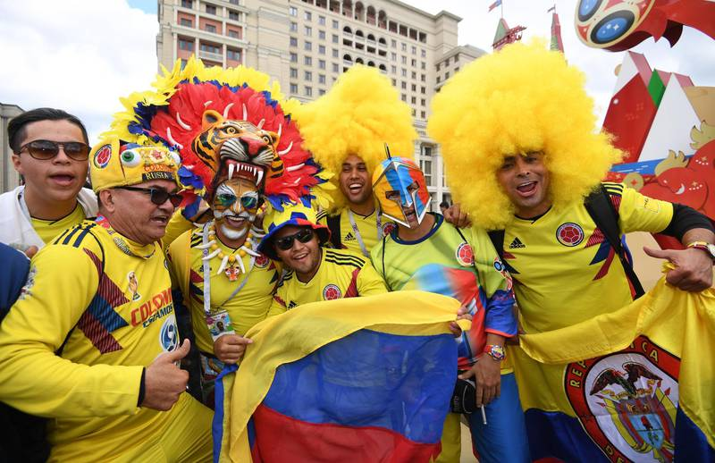epa06804698 Colombia soccer fans gather near the Red Square in Moscow, Russia, 13 June 2018. Russia will face Saudi Arabia in the opening match of the FIFA World Cup 2018, the group A preliminary round soccer match on 14 June 2018.  EPA/FACUNDO ARRIZABALAGA