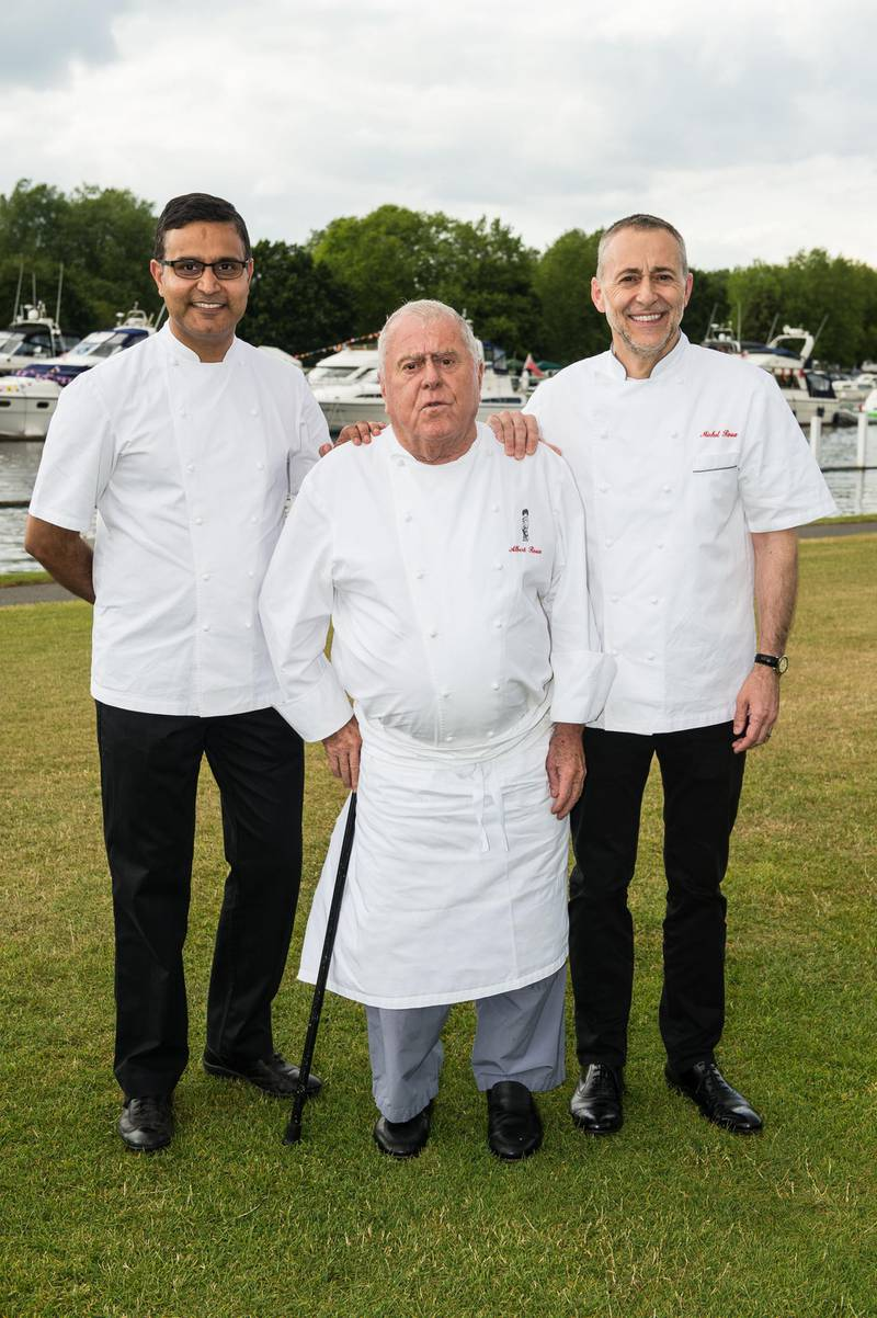 (FILE PHOTO) Chef Albert Roux dies aged 85 announced on January 6,2021. HENLEY, ENGLAND - JULY 08: (L-R) Chefs Atul Kochhar, Albert Roux and Michel Roux Jr pose on Day 1 of The Henley Festival on July 8, 2015 in Henley-on-Thames, England.  (Photo by Ian Gavan/Getty Images)