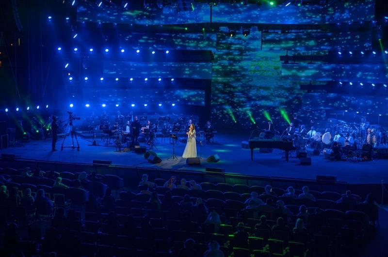 Emirati singer Aryam performs at the 49th National Day show at Al Majaz Amphitheatre in Sharjah, December 3. Wam