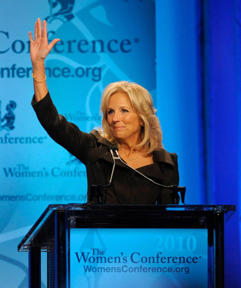 epa02414020 Dr. Jill Biden waves prior to addressing the opening session of The Women's Conference in Long Beach, California USA 26 October 2010. The event is part of the 3-day Women's Conference which brings together world opinion leaders and is the premier forum for women in the United States.  EPA/MIKE NELSON