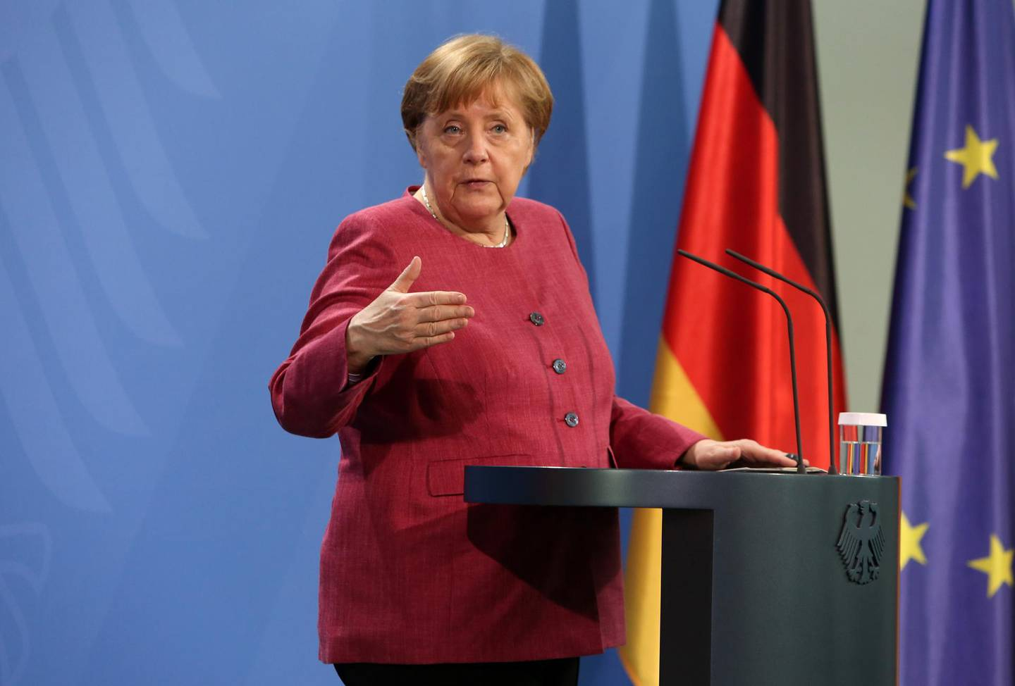 epa09218309 German Chancellor Angela Merkel (CDU) speaks after participating in the Global Health Summit in Berlin, Germany, 21 May 2021. The summit, held in Rome and online amidst the ongoing coronavirus (COVID-19) pandemic as part of Italy's G20 Presidency, is aiming to develop a 'Rome Declaration' with principles to guide multilateral cooperation and action to prevent future global health crises.  EPA/ADAM BERRY / POOL