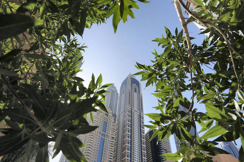 DUBAI, UNITED ARAB EMIRATES , October 28– 2020 :- View of the towers in Dubai Marina in Dubai. (Pawan Singh / The National) For News/Stock