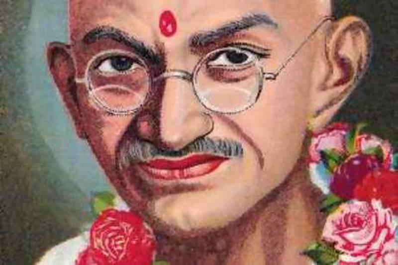 ca. 1950-1959 --- Color Print of Mahatma Gandhi --- Image by © Bettmann/CORBIS