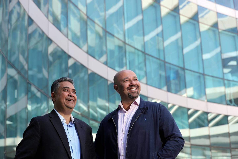 Dubai, United Arab Emirates - March 14, 2019: Pishu Ganglani (L), Co-founder of BuyBack Bazaar and Ricky Husaini (R), CEO & Co-founder of BuyBack Bazaar. Thursday the 14th of March 2019 in Al Barsha, Dubai. Chris Whiteoak / The National