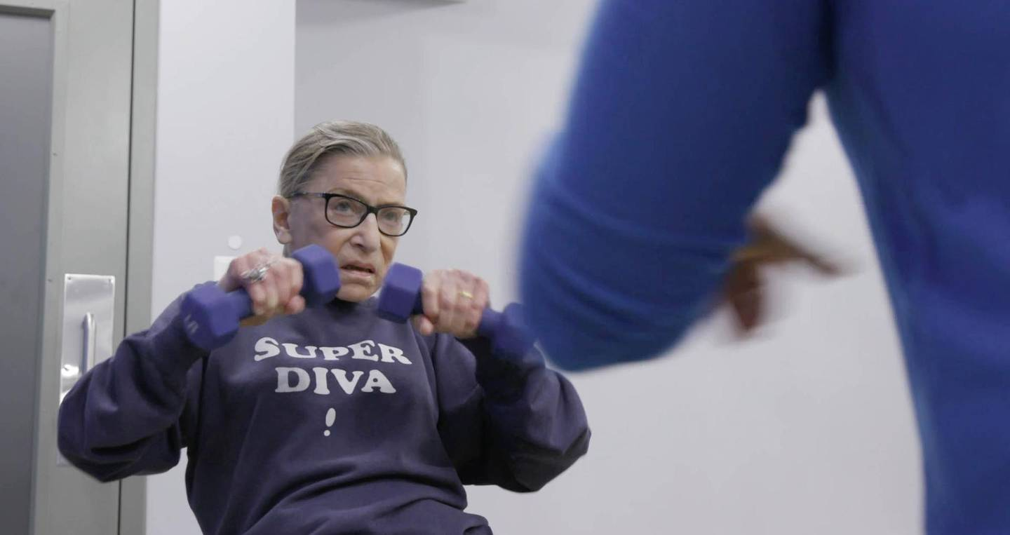 Associate Justice of the Supreme Court of the United States, Ruth Bader Ginsburg in mid workout routine in RBG. Magnolia Pictures / CNN Films
