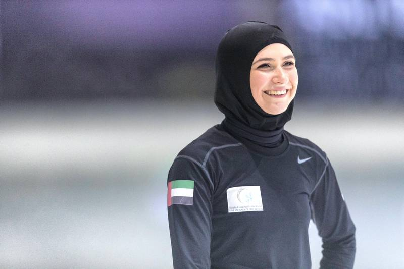 Abu Dhabi, United Arab Emirates, August 24, 2017:    Zahra Lari, an Emirati figure skater who is working towards qualifying for the 2018 Winter Olympics, trains at the Ice Rink in the Zayed Sports City area of Abu Dhabi on August 24, 2017. Christopher Pike / The National  Reporter: Amith Passela Section: Sport