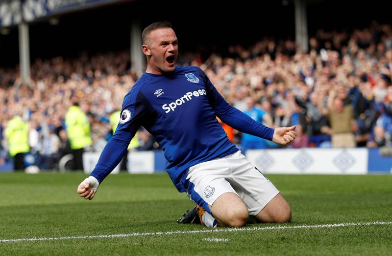 """Football Soccer - Premier League - Everton vs Stoke City - Liverpool, Britain - August 12, 2017   Everton's Wayne Rooney celebrates scoring their first goal   Action Images via Reuters/Lee Smith  EDITORIAL USE ONLY. No use with unauthorized audio, video, data, fixture lists, club/league logos or """"live"""" services. Online in-match use limited to 45 images, no video emulation. No use in betting, games or single club/league/player publications. Please contact your account representative for further details. - RTS1BHVR"""
