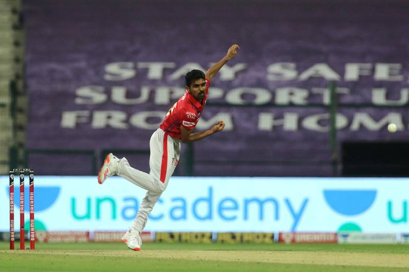 Murugan Ashwin of Kings XI Punjab bowls during match 50 of season 13 of the Dream 11 Indian Premier League (IPL) between the Kings XI Punjab and the Rajasthan Royals at the Sheikh Zayed Stadium, Abu Dhabi  in the United Arab Emirates on the 30th October 2020.  Photo by: Vipin Pawar  / Sportzpics for BCCI