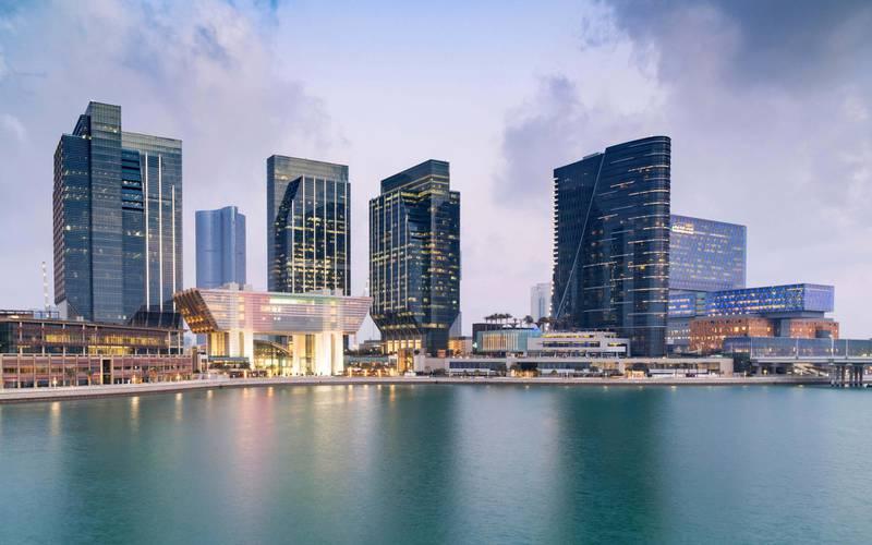 FG81FD View of new business district at Abu Dhabi Global Market square (ADGM) on Al Maryah Island in Abu Dhabi United Arab Emirates. Alamy