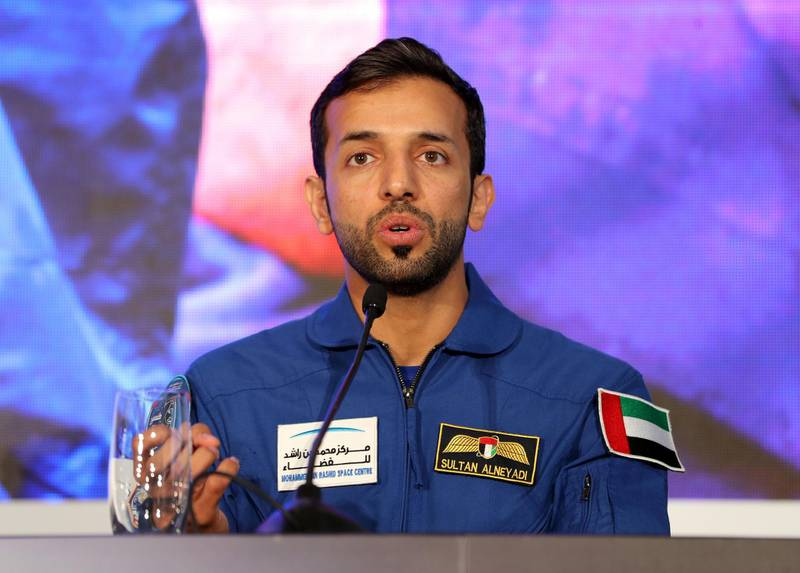 Dubai, United Arab Emirates - Reporter: Sarwat Nasir: Back-up astronaut Sultan Al Nayadi. Press conference by MBRSC to announce details of search for next UAE astronaut. Tuesday, 3rd of March, 2020. Downtown, Dubai. Chris Whiteoak / The National