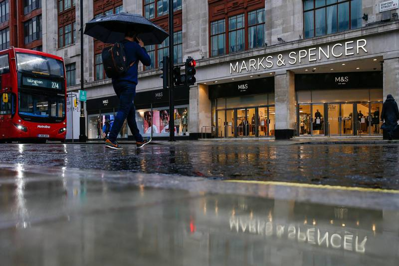 A pedestrian walks past Marks & Spencer Group Plc story on Oxford Street in London, U.K., on Wednesday, Oct. 21, 2020. Prices rose 0.5% in September, from 0.2% a month earlier, the Office for National Statistics said Wednesday. Photographer: Hollie Adams/Bloomberg