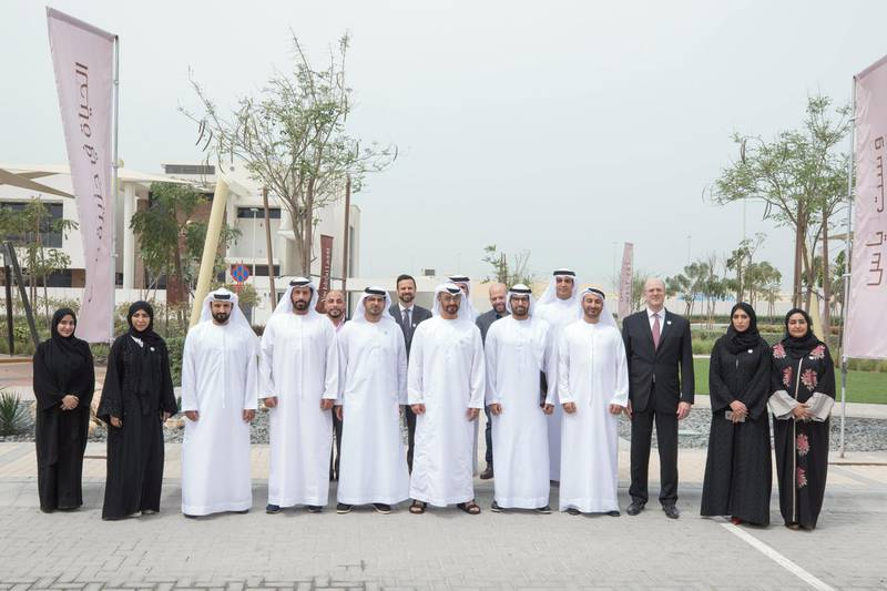 YAS ISLAND, ABU DHABI, UNITED ARAB EMIRATES -March 01, 2018: HH Sheikh Mohamed bin Zayed Al Nahyan, Crown Prince of Abu Dhabi and Deputy Supreme Commander of the UAE Armed Forces (front 6th R), stands for a photograph while inspecting urban development and tourism projects, at West Yas. Seen with HE Mohamed Khalifa Al Mubarak, Chairman of the Department of Culture and Tourism and Abu Dhabi Executive Council Member (front 5th R).  ( Hamad Al Mansouri for Crown Prince Court - Abu Dhabi )  ---