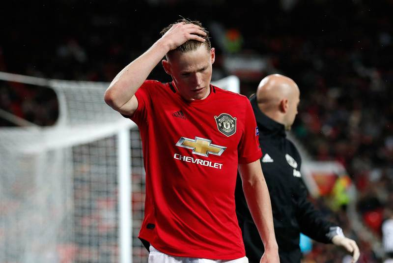 Manchester United's Scott McTominay leaves the field with an injury during the UEFA Europa League Group L match at Old Trafford, Manchester. PA Photo. Picture date: Thursday November 7, 2019. See PA story SOCCER Man Utd. Photo credit should read: Martin Rickett/PA Wire