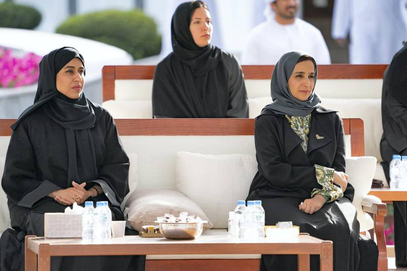 ABU DHABI, UNITED ARAB EMIRATES - March 16, 2020: (L-R) HE Hessa Essa Buhumaid, UAE Minister of Community Development and HE Jameela Salem Al Muhairi, UAE Minister of State for Public Education Affairs, attend a Sea Palace barza which focused on the UAE's Covid19 response.  ( Mohamed Al Hammadi / Ministry of Presidential Affairs ) ---