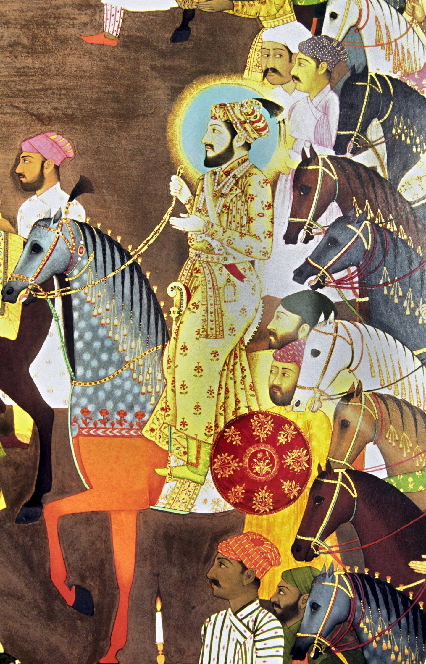 Detail of Shah Jahan from the miniature painting of the wedding of Dara Shikoh, Awadh, 1740, National Museum, New Delhi, India. (Photo by: IndiaPictures/UIG via Getty Images)