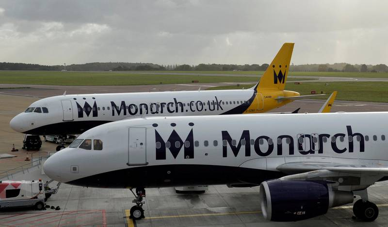 Monarch aircraft are seen parked after the airline ceased trading, at Luton airport in Britain, October 2, 2017. REUTERS/Mary Turner