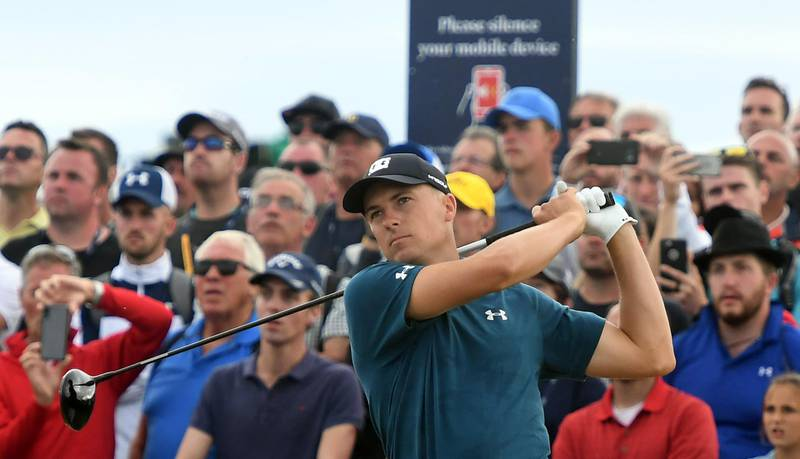 epa06903104 Jordan Spieth of the US tees off on the 18th during the third round of the British Open Golf Championship at Carnoustie, Britain, 21 July 2018.  EPA/GERRY PENNY
