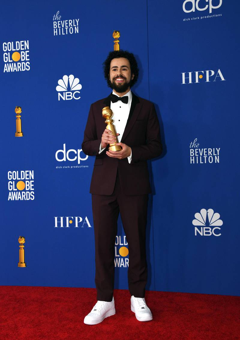 epa08106017 Ramy Youssef poses with the Best Performance by an Actor In a Television Series - Musical or Comedy award in the press room during the 77th annual Golden Globe Awards ceremony at the Beverly Hilton Hotel, in Beverly Hills, California, USA, 05 January 2020.  EPA-EFE/CHRISTIAN MONTERROSA
