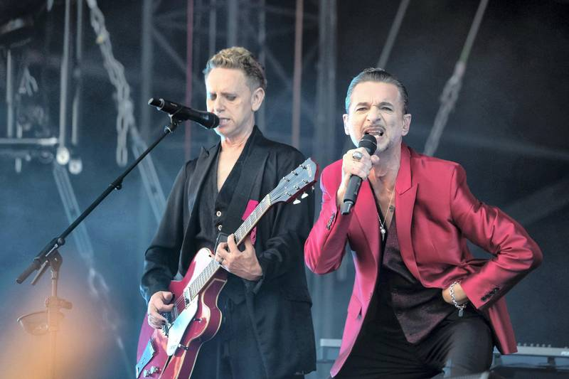 The English electronic band Depeche Mode performs a live concert at Letzigrund Stadion in Zvå_rich. Here singer and songwriter Dave Gahan is seen live on stage with guitarist Martin Gore. Switzerland, 18/06 2017. (Photo by: PYMCA/Avalon/Universal Images Group via Getty Images)