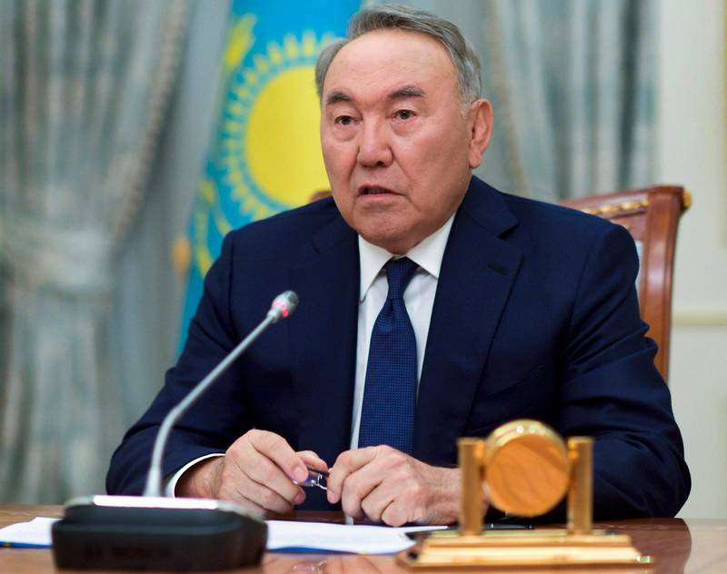 Kazakh President Nursultan Nazarbayev speaks during a televised address to the oil-rich nation in Astana, Kazakhstan, Tuesday, March 19, 2019. President Nursultan Nazarbayev, the only leader that independent Kazakhstan has ever known, abruptly announced his resignation Tuesday after three decades in power, raising uncertainty over the future course of the Central Asian country. (Kazakhstan's Presidential Press Service via AP)