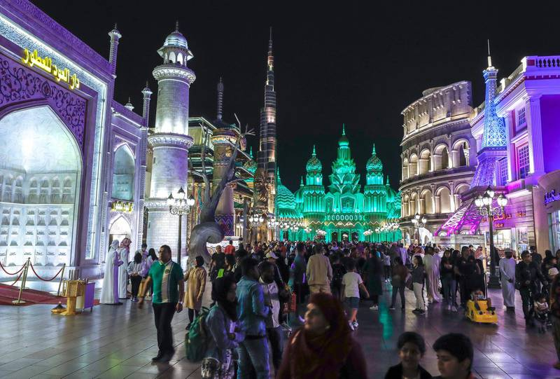Abu Dhabi, United Arab Emirates, January 5, 2020.  Photo essay of Global Village.  The main entrance busy with visitors.Victor Besa / The NationalSection:  WKReporter:  Katy Gillett