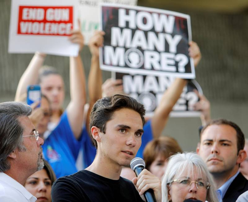 FILE PHOTO: David Hogg, a senior at Marjory Stoneman Douglas High School, speaks at a rally calling for more gun control three days after the shooting at his school, in Fort Lauderdale, Florida, U.S., February 17, 2018.   REUTERS/Jonathan Drake/File Photo