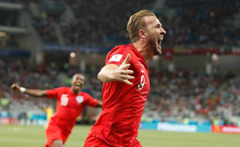 epa06819828 Harry Kane of England celebrates after scoring the winning goal during the FIFA World Cup 2018 group G preliminary round soccer match between Tunisia and England in Volgograd, Russia, 18 June 2018.  (RESTRICTIONS APPLY: Editorial Use Only, not used in association with any commercial entity - Images must not be used in any form of alert service or push service of any kind including via mobile alert services, downloads to mobile devices or MMS messaging - Images must appear as still images and must not emulate match action video footage - No alteration is made to, and no text or image is superimposed over, any published image which: (a) intentionally obscures or removes a sponsor identification image; or (b) adds or overlays the commercial identification of any third party which is not officially associated with the FIFA World Cup)  EPA/FRANCIS R. MALASIG   EDITORIAL USE ONLY