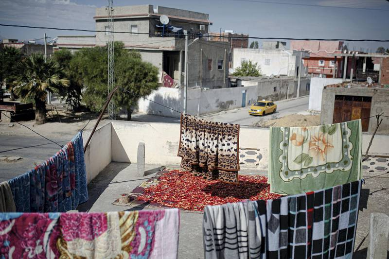 Peppers dry on a rooftop in Jendouba city.