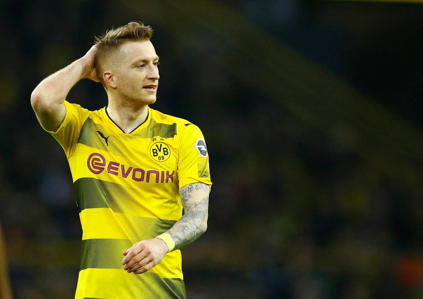 Soccer Football - Bundesliga - Borussia Dortmund vs Eintracht Frankfurt - Signal Iduna Park, Dortmund, Germany - March 11, 2018   Borussia Dortmund's Marco Reus     REUTERS/Thilo Schmuelgen    DFL RULES TO LIMIT THE ONLINE USAGE DURING MATCH TIME TO 15 PICTURES PER GAME. IMAGE SEQUENCES TO SIMULATE VIDEO IS NOT ALLOWED AT ANY TIME. FOR FURTHER QUERIES PLEASE CONTACT DFL DIRECTLY AT + 49 69 650050