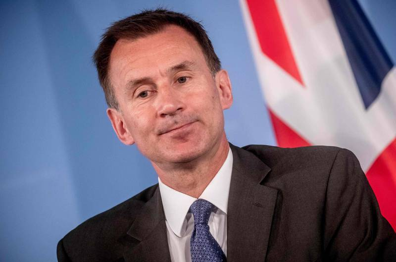 British Foreign Secretary Jeremy Hunt reacts during a joint press conference with his German counterpart, at the Federal Foreign Office in Berlin, on July 23, 2018. German Foreign Minister Heiko Maas hosts British counterpart Jeremy Hunt for first talks after Boris Johnson's resignation. - Germany OUT  / AFP / dpa / Michael Kappeler