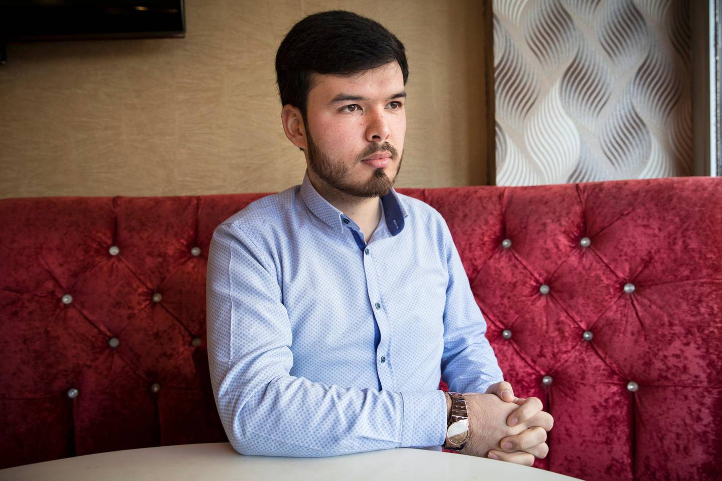 Portrait of Iskiyar Abdurrahim.There is huge number of Uyghur community lives in Zeytinburnu district of Istanbul.Thye opened their restaurants,butchers,phone stores around the district.
