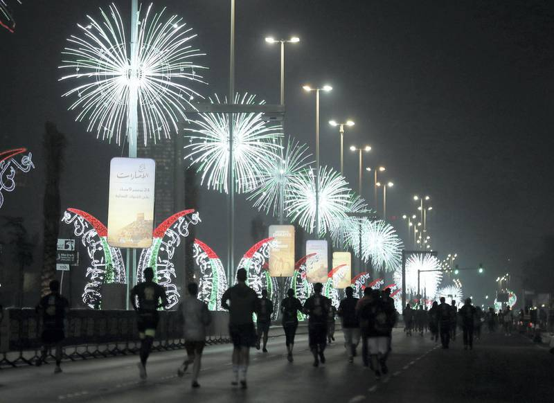 Abu Dhabi, United Arab Emirates - December 06, 2019: The start of the ADNOC Abu Dhabi marathon 2019. Friday, December 6th, 2019. Abu Dhabi. Chris Whiteoak / The National