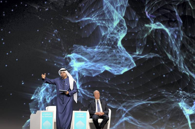 Dubai, United Arab Emirates - February 10, 2019: H.E. Mohammad Al Gergawi Minister of Cabinet Affairs and the Future, Chairman of the World Government Summit speaks at the opening of the summit during day 1 at the World Government Summit. Sunday the 10th of February 2019 at Madinat, Dubai. Chris Whiteoak / The National