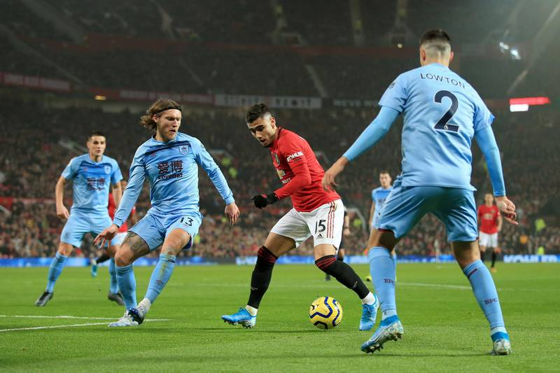 MANCHESTER, ENGLAND - JANUARY 22: Andreas Pereira of Man Utd battles with Jeff Hendrick of Burnley during the Premier League match between Manchester United and Burnley FC at Old Trafford on January 22, 2020 in Manchester, United Kingdom. (Photo by Simon Stacpoole/Offside/Offside via Getty Images)