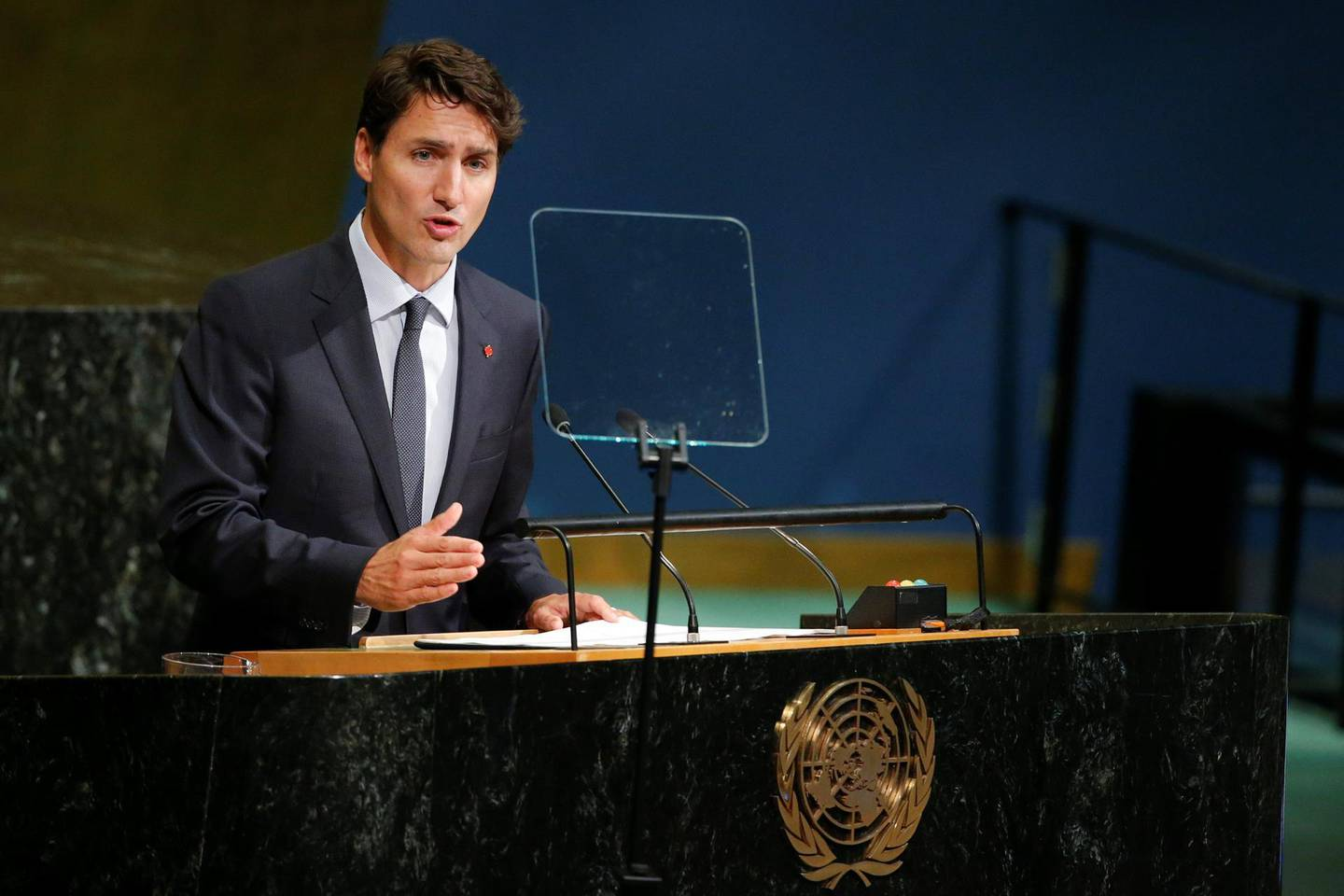 Canadian Prime Minister, Justin Trudeau, addresses the 72nd United Nations General Assembly at U.N. headquarters in New York, U.S., September 21, 2017. REUTERS/Eduardo Munoz