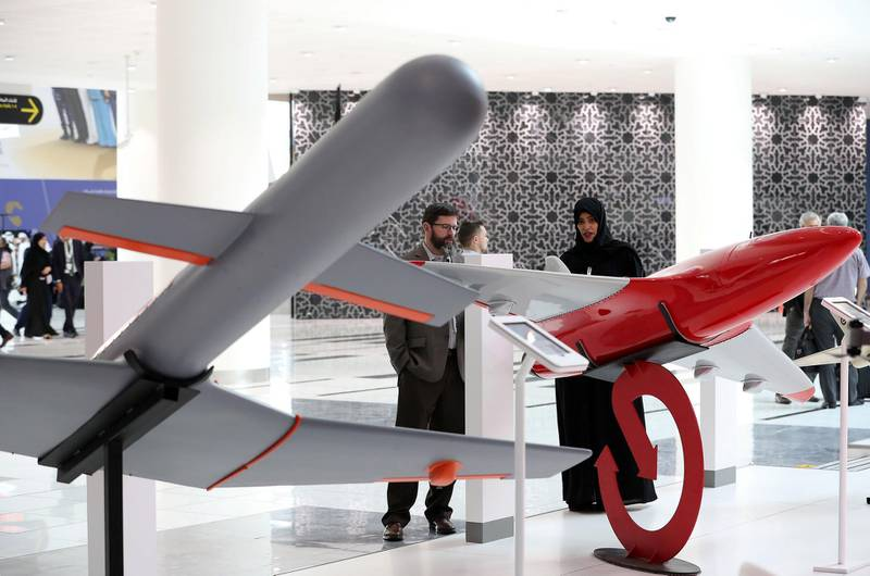 ABU DHABI, UNITED ARAB EMIRATES , Feb 23  – 2020 :- Drones on display at the Etimad stand on the first day of the UMEX & SimTEX held at Abu Dhabi National Exhibitions Centre in Abu Dhabi. (Pawan  Singh / The National) For News/Online/Instagram.  Story by Kelsey Warner