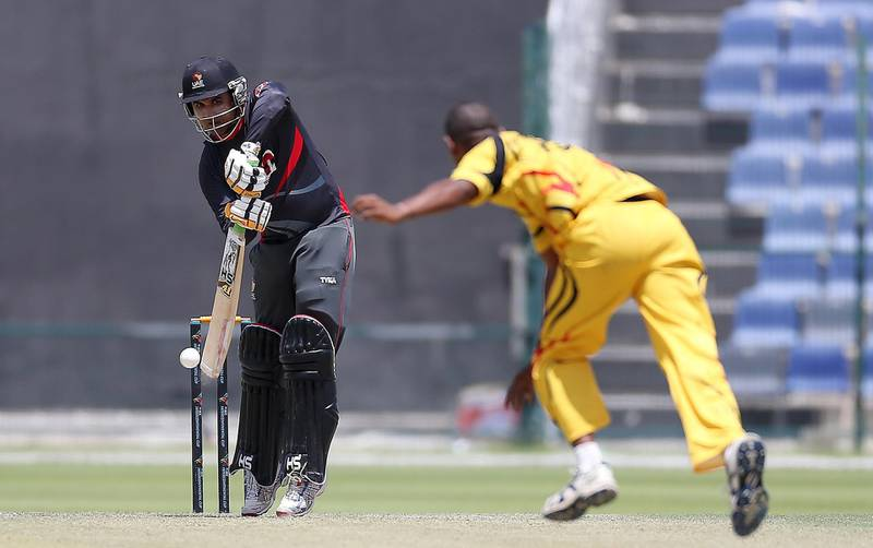 ABU DHABI , UNITED ARAB EMIRATES – April 12 , 2017 : Shaiman Anwar of UAE cricket team playing a shot during the T20 cricket match between Papua New Guinea vs UAE held at  Sheikh Zayed Cricket Stadium in Abu Dhabi. UAE won the match by 5 wickets. Shaiman Anwar scored 39 runs in this match.( Pawan Singh / The National ) For Sports. Story by Paul Radley. ID : 28402 *** Local Caption ***  PS1204- CRICKET03.jpg