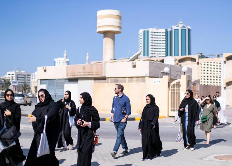 SHARJAH, UNITED ARAB EMIRATES. 25 JANUARY 2020. An architectural walk today exploring spaces of coexistence around Al Qasimiyah neighborhood in Sharjah. The journey followed the path of the recently launched publication: In Search if Spaces of Coexistence: An Architect's Journey.(Photo: Reem Mohammed/The National)Reporter:Section: