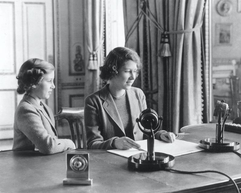 400806 25: (FILE PHOTO) Princess Elizabeth makes her first broadcast, accompanied by her younger sister Princess Margaret Rose October 12, 1940 in London. Buckingham Palace announced that Princess Margaret died peacefully in her sleep at 1:30AM EST at the King Edward VII Hospital February 9, 2002 in London. (Photo by Getty Images)
