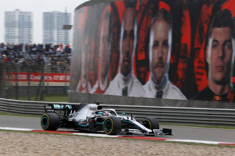 Formula One F1 - Chinese Grand Prix - Shanghai International Circuit, Shanghai, China - April 14, 2019  Mercedes' Lewis Hamilton in action during the race  REUTERS/Thomas Peter