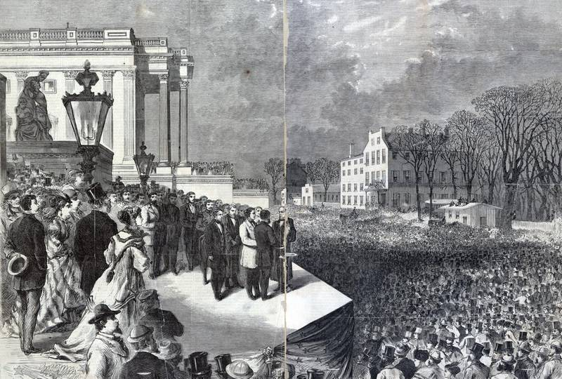 Ulysses S. Grant and Schuyler Colfax taking the oath of office administered by Chief Justice Salmon P. Chase on the east portico of the U.S. Capitol in Washington, D.C, March 4th 1869, before a large crowd. (Photo by: Photo12/Universal Images Group via Getty Images)