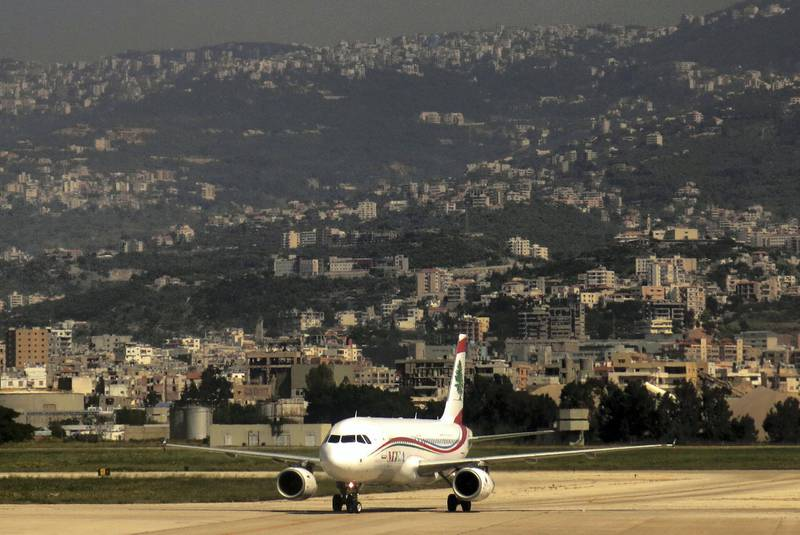 A picture taken on April 11, 2014 shows a Middle East Airlines (MEA) commercial plane preparing to take off from Beirut's Rafic Hariri International Airport. AFP PHOTO/PATRICK BAZ (Photo by PATRICK BAZ / AFP)