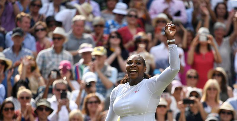 Tennis - Wimbledon - All England Lawn Tennis and Croquet Club, London, Britain - July 12, 2018  Serena Williams of the U.S. celebrates winning her semi final match against Germany's Julia Goerges    REUTERS/Tony O'Brien