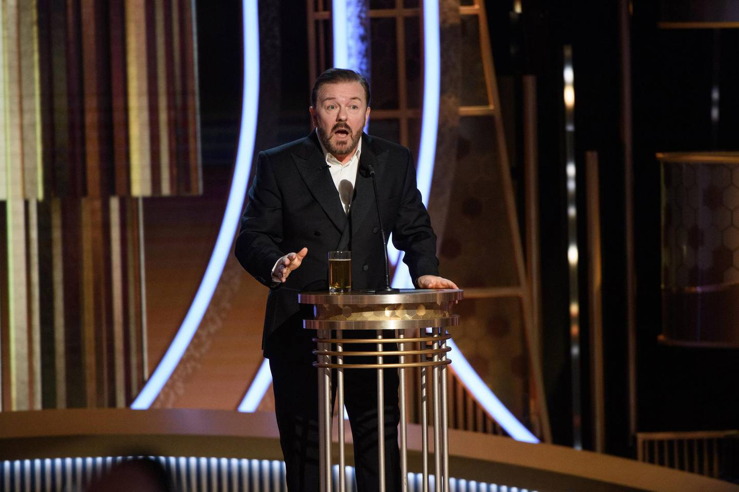 epa08105966 A handout photo made available by the Hollywood Foreign Press Association (HFPA) shows host Ricky Gervais on stage during the 77th annual Golden Globe Awards ceremony at the Beverly Hilton Hotel, in Beverly Hills, California, USA, 05 January 2020.  EPA/HFPA / HANDOUT ATTENTION EDITORS: IMAGE MAY ONLY BE USED UNALTERED, ONE TIME USE ONLY WITHIN 60 DAYS MANDATORY CREDIT HANDOUT EDITORIAL USE ONLY/NO SALES HANDOUT EDITORIAL USE ONLY/NO SALES