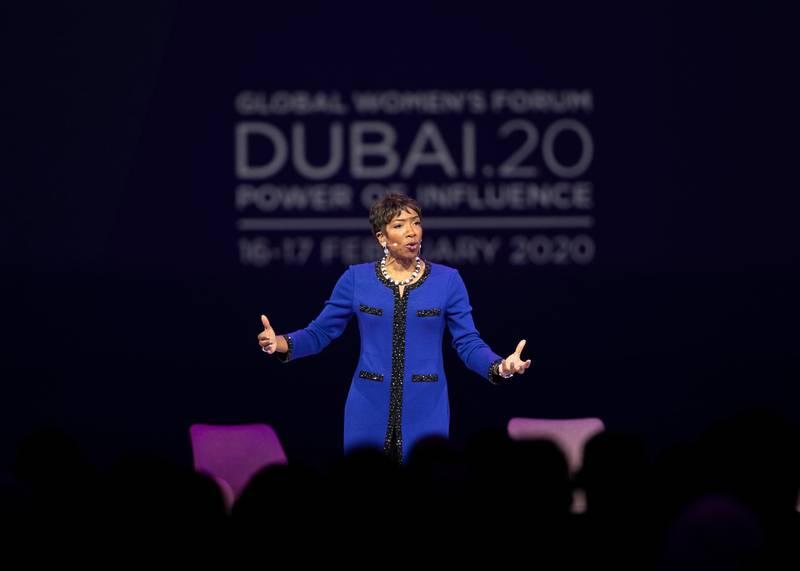 DUBAI, UNITED ARAB EMIRATES. 16 FEBRUARY 2020. CARLA HARRISVice Chairman, Managing Director, and Senior Client Advisor, Morgan Stanley – USA, speaking at Global Women's Forum Dubai.(Photo: Reem Mohammed/The National)Reporter:Section: