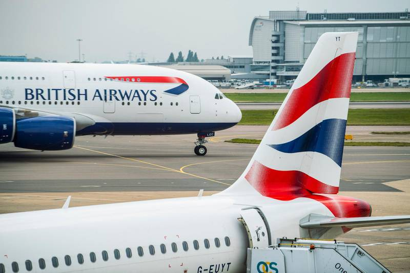 LONDON, UNITED KINGDOM - SEPTEMBER 27: British Airways in runway at the Heathrow Airport on 27 September 2017, in London, United Kingdom. (Photo by studioEAST/Getty Images)
